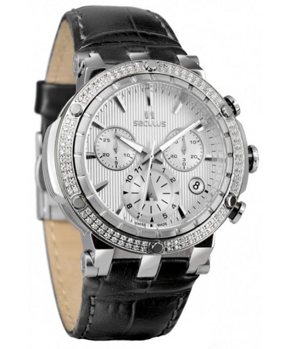 Часы Seculus 1682.2.503 white, ss, black leather