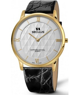 Seculus 4455.1.106 white, pvd, black leather