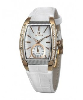 Seculus 1667.2.1069 white, pvd-r cz stones, white leather