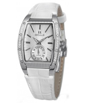 Seculus 1667.2.1069 white, ss cz stones, white leather