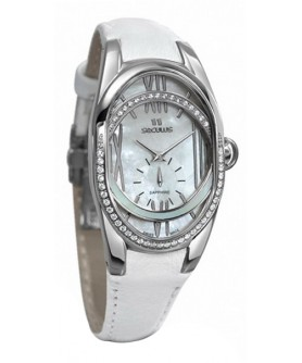 Seculus 1668.2.1064 white, ss cz stones, white leather