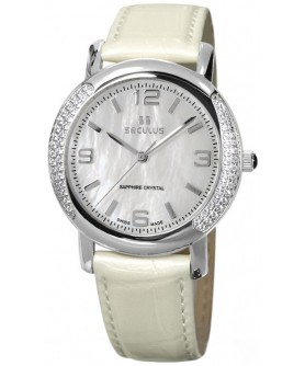 Seculus 1673.2.1063 white-cz, ss-cz, pearl leather