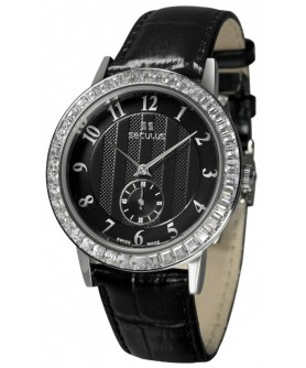 Seculus 1675.2.1069 black, ss cz stones, black leather