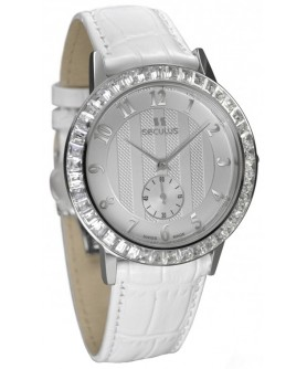 Seculus 1675.2.1069 white, ss cz stones, white leather